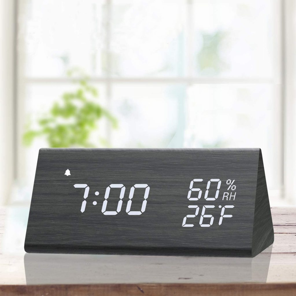Digital Alarm Clock, Wooden Electronic LED Time Display