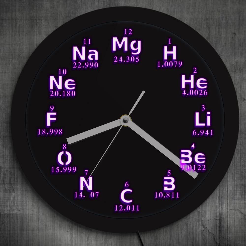 Periodic Table Element Wall Clock, LED Lighting