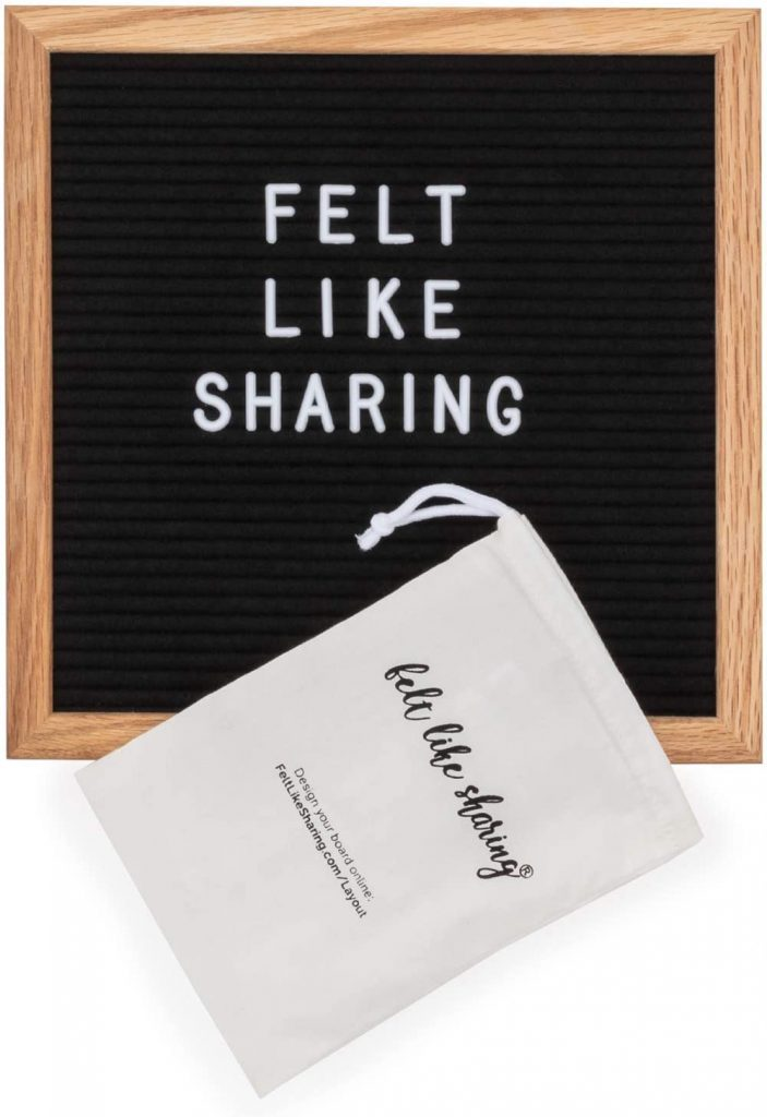 Black Felt Letter Board, 10x10 inches
