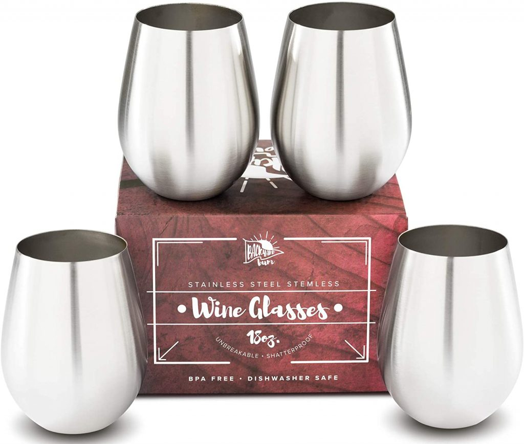 Premium Solid Stainless Steel Wine Glasses,