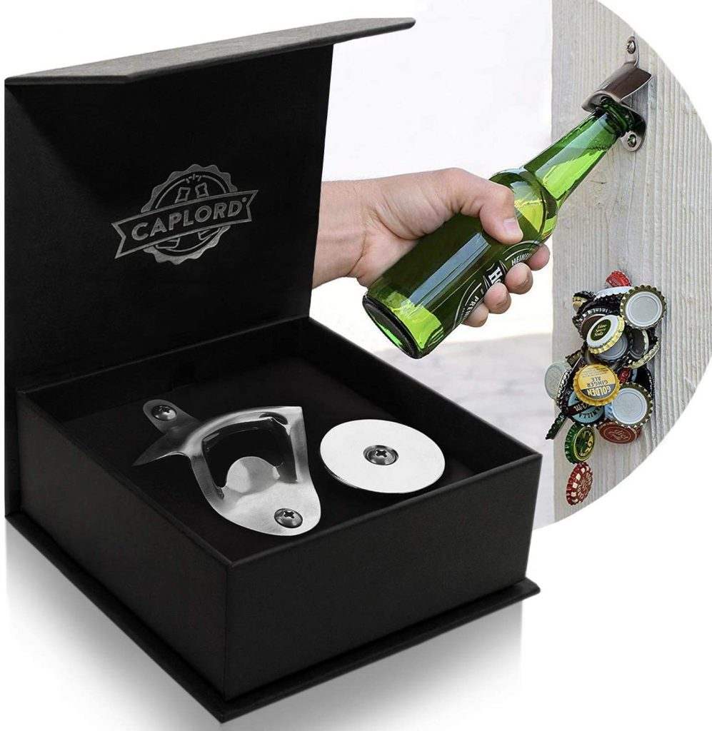 Beer Bottle Opener Wall Mounted with Magnetic Cap Catcher