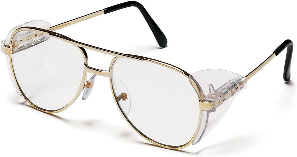 Pyramex Pathfinder Aviator Safety Glasses, Gold Frame