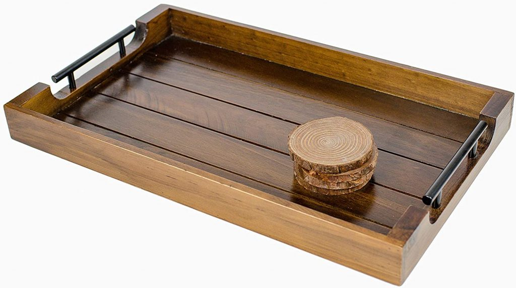 Wood Serving Tray, Metal Handles