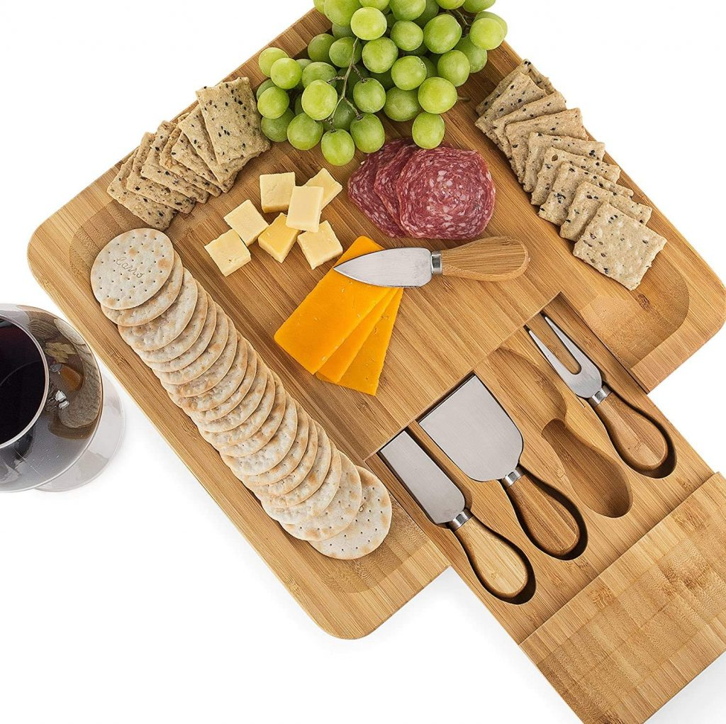 Bamboo Cheese Board Set, Cutlery In Slide-Out Drawer, Stainless Steel Serving Utensils