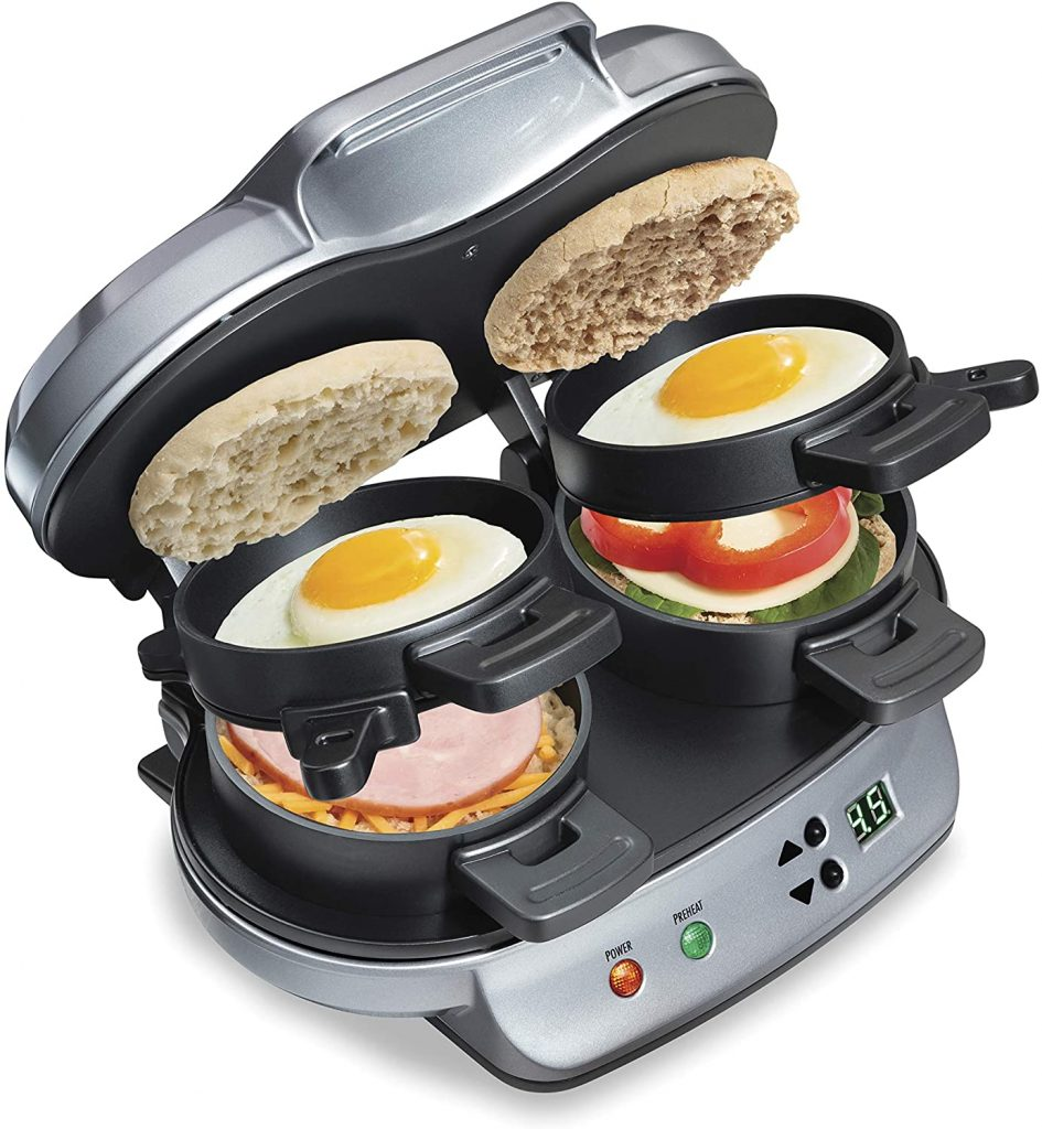 Hamilton Beach Dual Breakfast Sandwich Maker with Timer, Silver