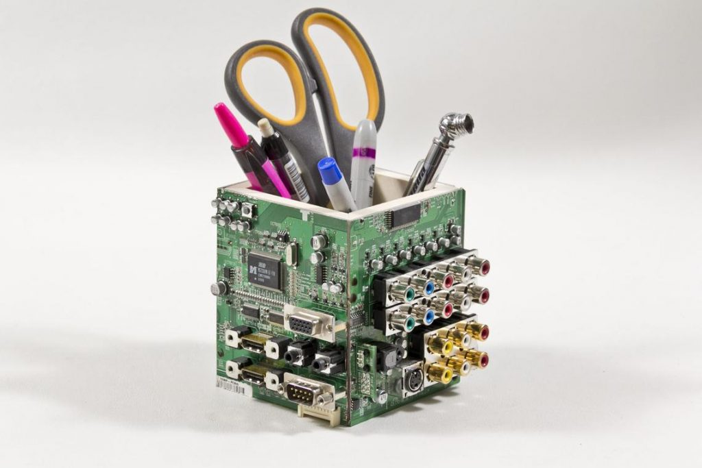 Circuit Board Pencil Pen holder, Computer Industrial look