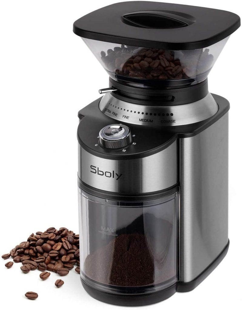 Sboly Conical Burr Coffee Grinder, Stainless Steel