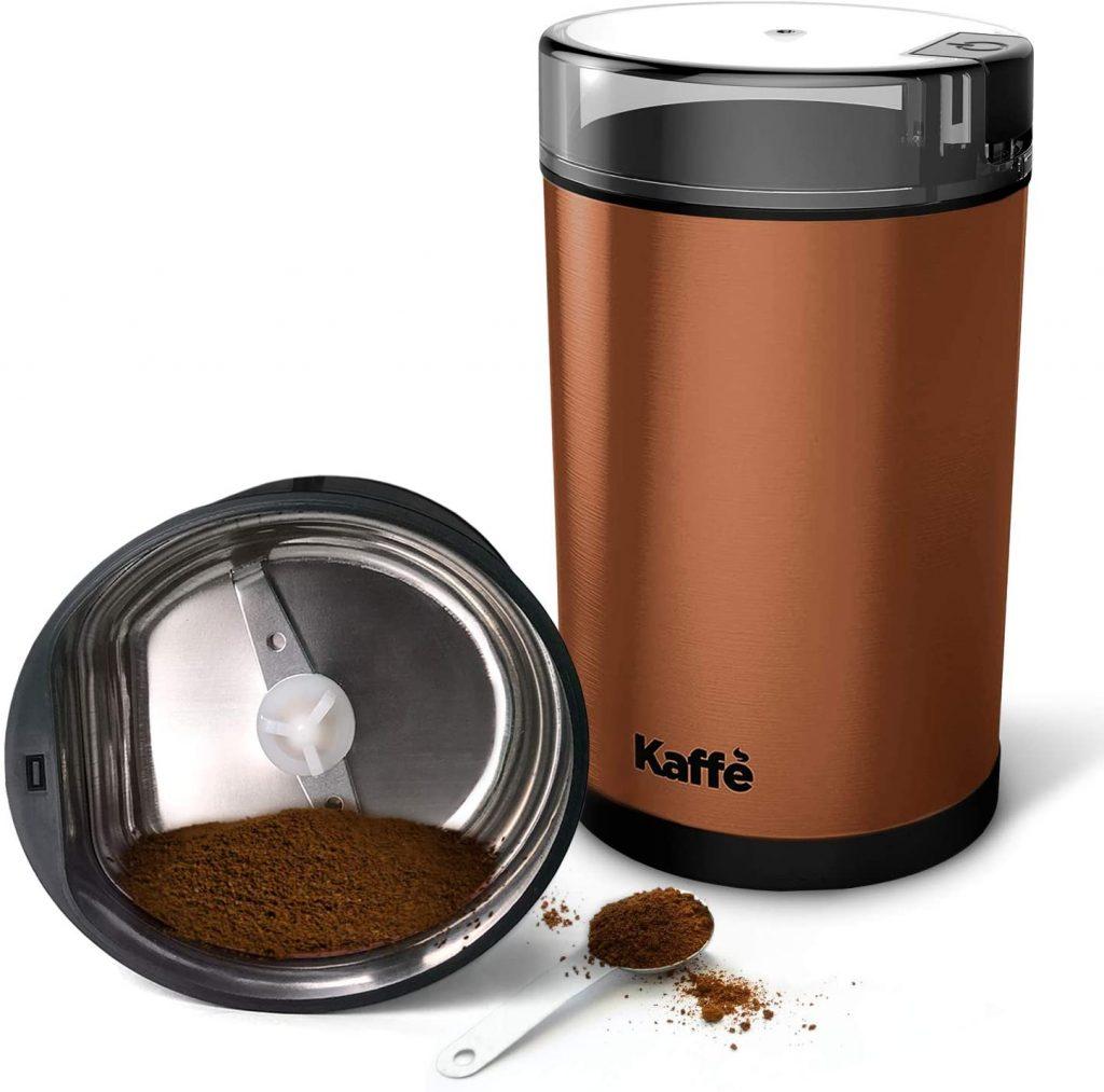 Kaffe Electric Coffee Grinder, Copper, 3oz Capacity with Easy On/Off Button