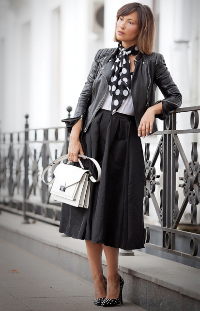 With a Midi Skirt and Heels