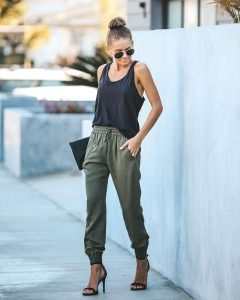Ankle Strap Heels with Black Tank Top and Shades