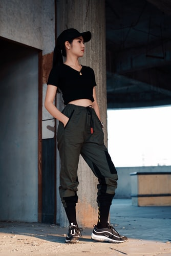 Black Crop Top and Joggers