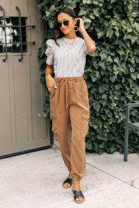 Black-Strapped Slides and Camel Tencel Joggers