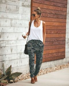 Camouflage Joggers with Brown Flats