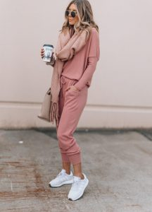 Chic Scarf with Sneakers