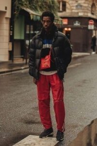 Double Red Sweatpants and Black Rubber Shoes