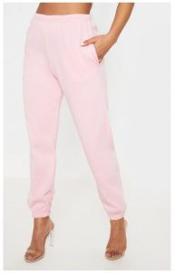 Glass Slipper-Transparent Heels and Pink Joggers