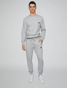 Gray Drawstring-Sweatpants and White Sneakers
