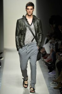 Gray Sweatpants with Leather Jacket and Sports Sandals for Men