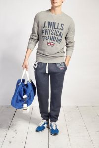 Gray Sweatshirt Matched with Dark Gray Sweatpants and Blue Shoes Men