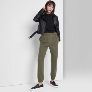 High-Rise Vintage Jogger Pants and Loafers