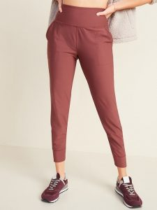 High-Waisted Joggers and Maroon Sneakers