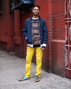 Men's Yellow Sweatpants Coupled with Boat Shoes