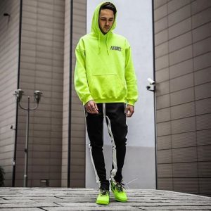 Neon Hoodie and Rubber Shoes Matched with White-Striped Black Sweatpants