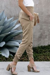 Nude Block Heels and Cotton Joggers