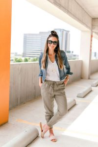 Nude Slide Sandals and Gray Jogger Pants