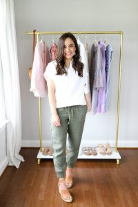 Nude Straps Wedge and Green Jogger Pants