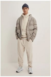 Nude Sweatpants and Gray Walking Shoes and Gray Jacket