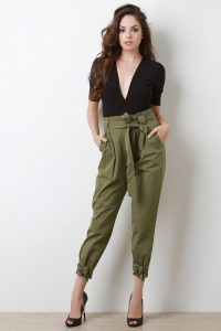 Ribboned joggers for women