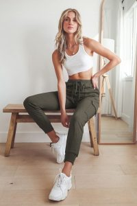 White Sneakers and Olive Green Drawstring Joggers
