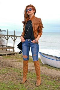 A Brown Suede Or Leather Jacket